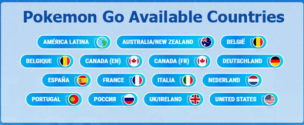 Pokemon Go Available Countries